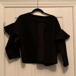 Handmade Neoprene Black Ruffle Jacket